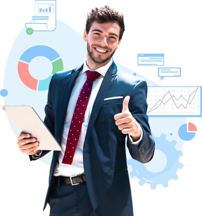 Emprendedor sigue diariamente los resultados de su negocio